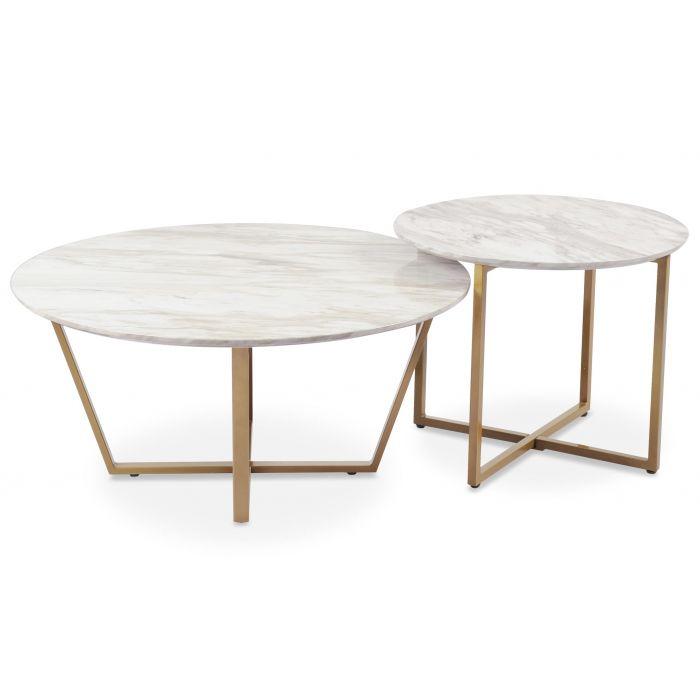 ensemble de 2 tables basses isadora effet marbre