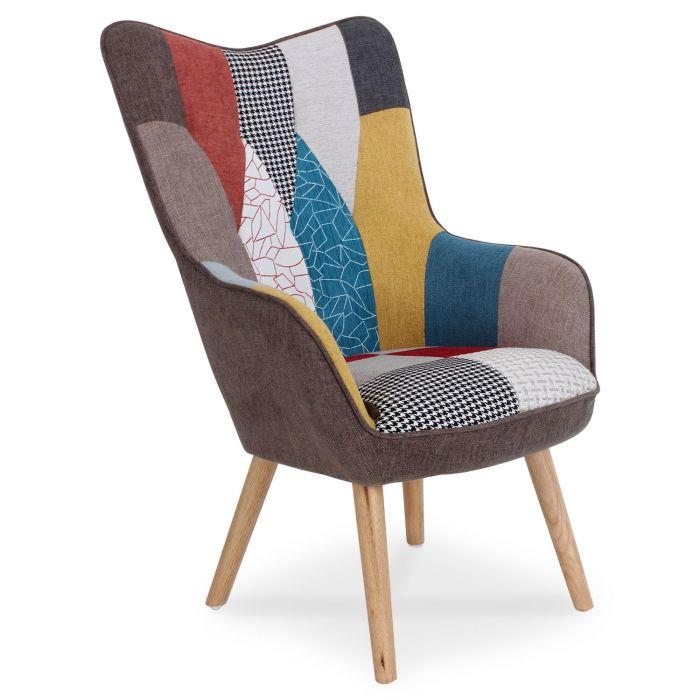 fauteuil scandinave klarys tissu patchwork