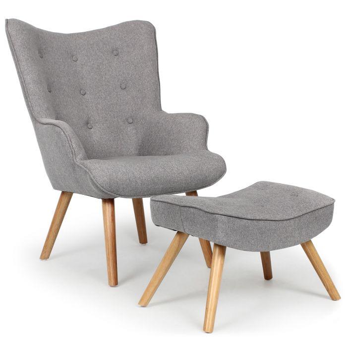 fauteuil scandinave pouf lylou tissu gris clair