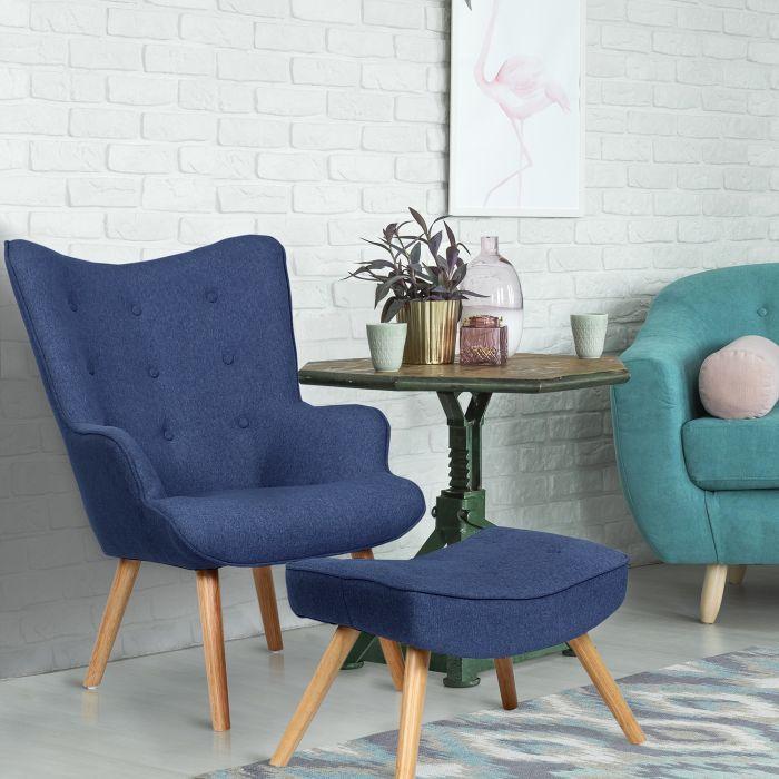 fauteuil scandinave pouf lylou tissu bleu