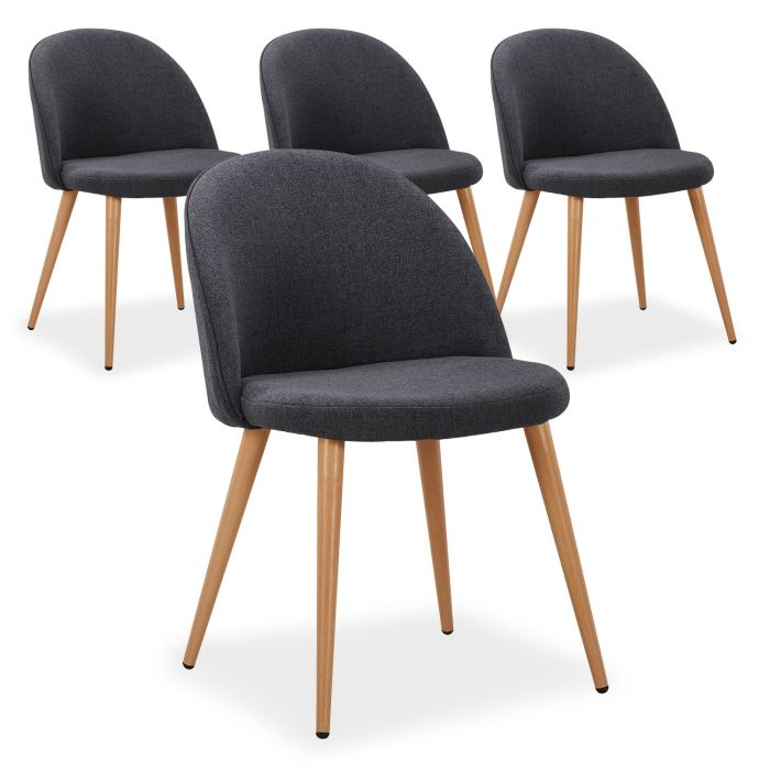 lot de 4 chaises scandinaves maury gris fonce