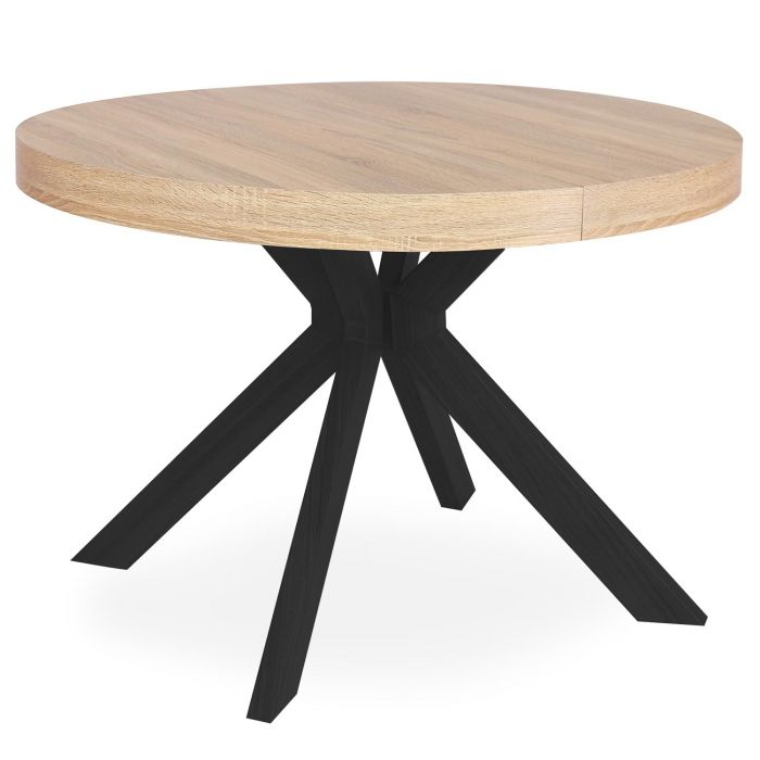 table ronde extensible myriade noir et chene clair