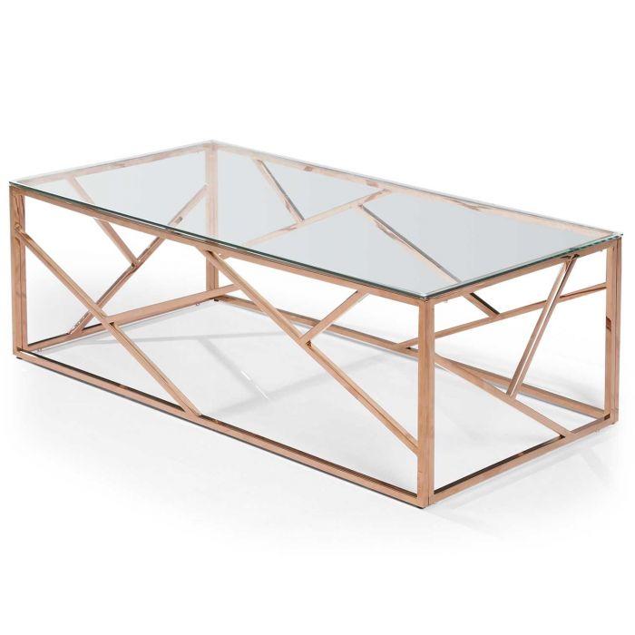 table basse opera en verre transparent et pieds or rose