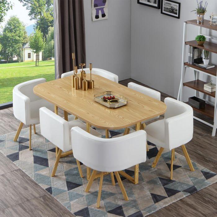 table et chaises oslo xl chene et simili blanc