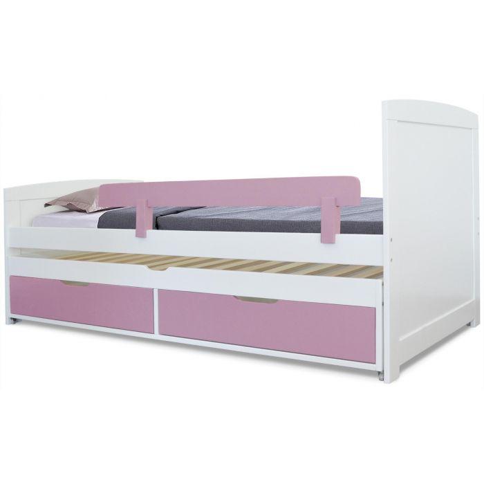 https www menzzo fr lit gigogne enfant avec sommiers et tiroirs patapon blanc et rose html