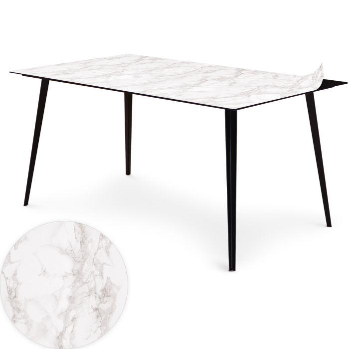table magnetique rectangulaire 150x90cm bipolart metal noir avec 1 top effet marbre