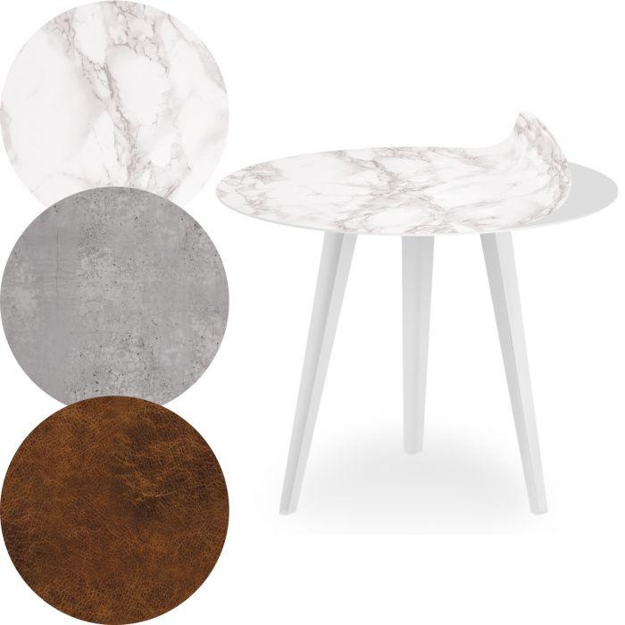 table d appoint magnetique ronde 45cm bipolart metal blanc avec 3 tops style textures