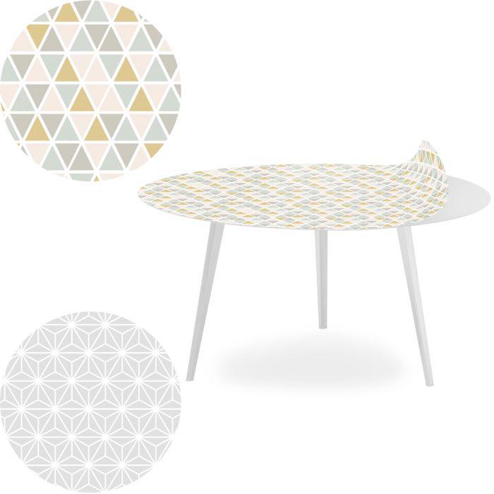 table basse magnetique ronde 90cm bipolart metal blanc avec 2 tops style scandinave