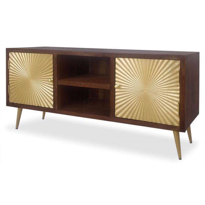 meuble tv solaris bois et or