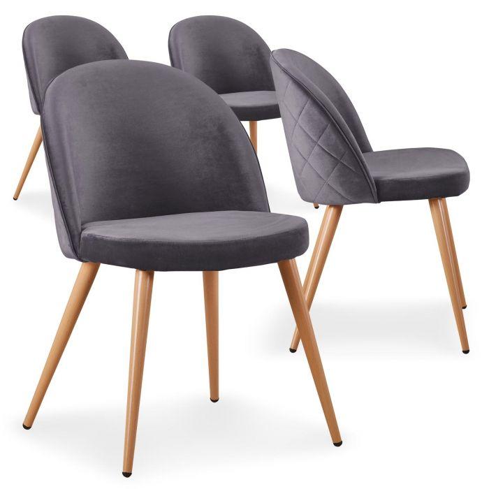 lot de 4 chaises scandinaves tartan velours gris
