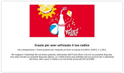 vincita Coca-Cola+iTunes