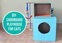 Easy DIY Cardboard Cat Playhouse | Meows 'n' Paws