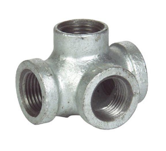 "1/"" GALVANIZED MALLEABLE IRON CROSS 4-way TEE fitting pipe npt"