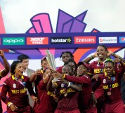 Kolkata, INDIA - APRIL 3: The West Indies team celebrate with the trophy after winning the Women's ICC World Twenty20 India 2016 Final match between Australia and West Indies on April 03, 2016 in Kolkata,India. (Photo by Pal Pillai/IDI via Getty Images)