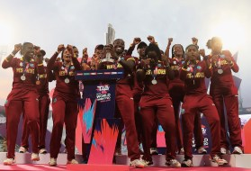 KOLKATA, INDIA - APRIL 03: West Indies celebrate with the Women's ICC World Twenty20 tophy after their teams win over Australia during the Women's ICC World Twenty20 India 2016 Final between Australia and West Indies at Eden Gardens on April 3, 2016 in Kolkata, India. (Photo by Matthew Lewis-IDI/IDI via Getty Images)