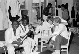 Scenes in the West Indies dressing room after their victory over England in the World Cup Final at Lord's cricket ground in London, 23rd June 1979. West Indies won by 92 runs. In this photograph, West Indies batsmen Desmond Haynes (left) and Collis King are congratulated by England's Mike Hendrick, Chris Old and David Gower. (Photo by Bob Thomas Sports Photography via Getty Images)