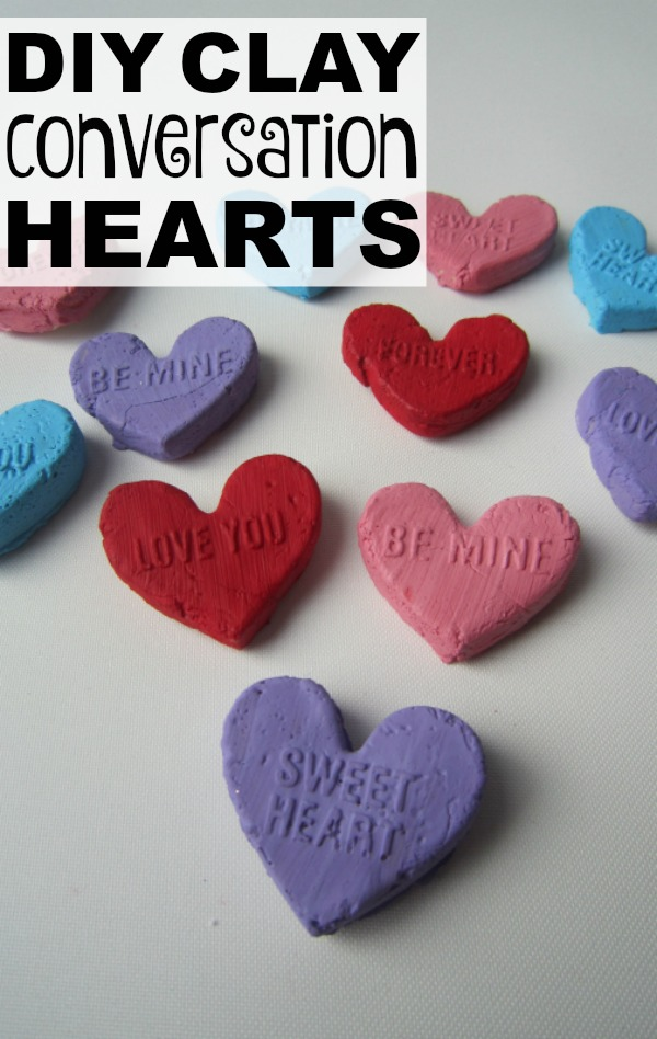 These adorable, simple to make, DIY Clay Conversation Hearts are the perfect valentines crafts to keep your kids busy when it's too cold to go outside. They make the perfect, noncandy valentines gift for school friends, and can be used for various valentines day activities (think: valentines tic-tac-toe) when your little ones are climbing the walls!