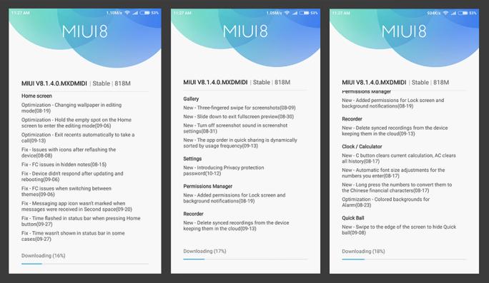 MIUI v8.1.4.0.MXDMIDI Full Changelog