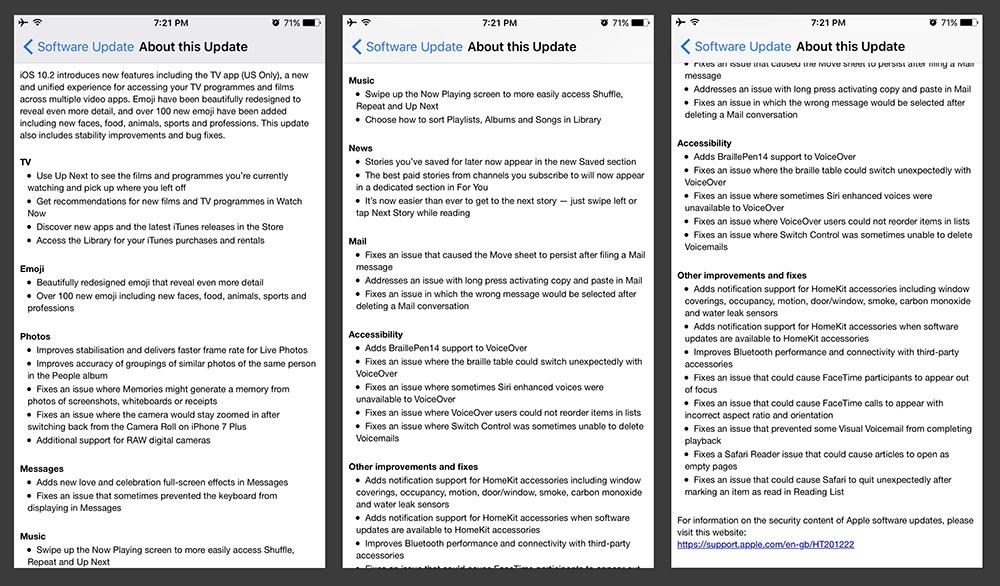 Apple iOS 10.2 Update Changelog
