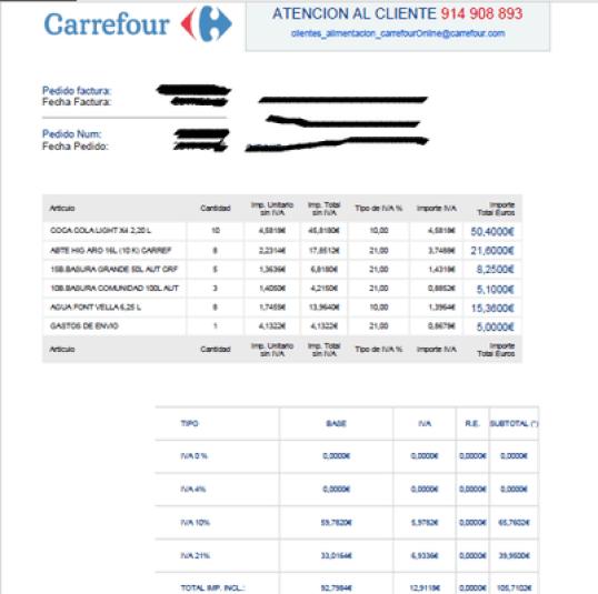 Factura Carrefour virus Carrefour.C.VivaLaFrance