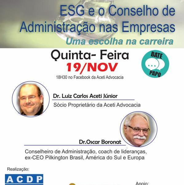 ESG e o Conselho de Administração nas Empresas (Uma escolha na carreira).
