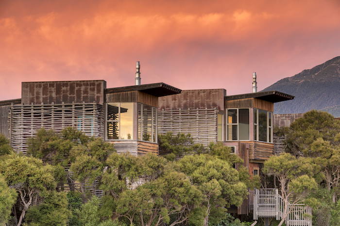 Hapuku Treehouses at dusk