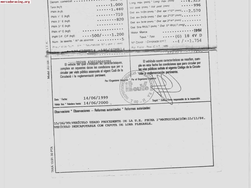 BMW 318I CABRIO VENDO