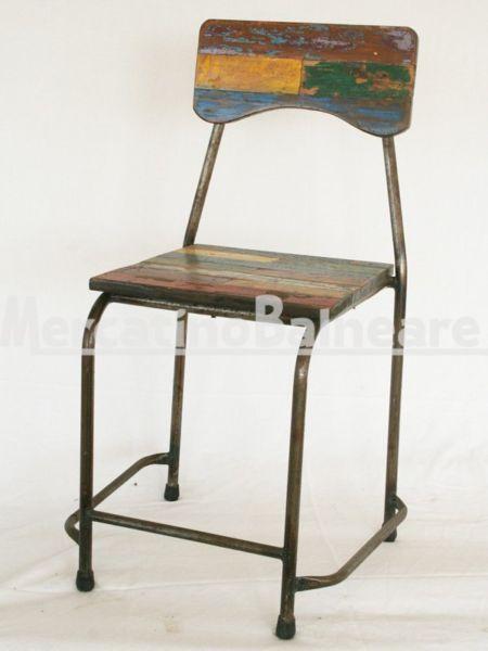 Sedia in metallo e legno Teak di recupero - Mercatino Balneare