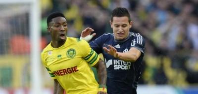 Serge GAKPE / Florian THAUVIN - 25.04.2014 - Nantes / Marseille - 35eme journee de Ligue 1 - Photo : Fred Porcu / Icon Sport