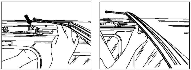 Снятие и установка дренажного желоба верхнего люка