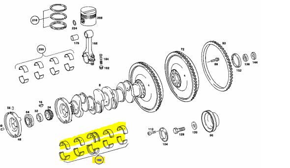 M115 / OM615 Main Bearings , Repair IV , +1.00 , 69.00mm