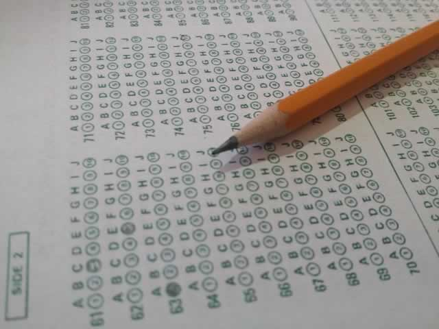 Standardized test form with pencil