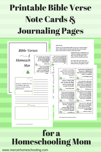 Bible Verse Note Cards and Jorurnaling Pages for a Homeschooling Mom