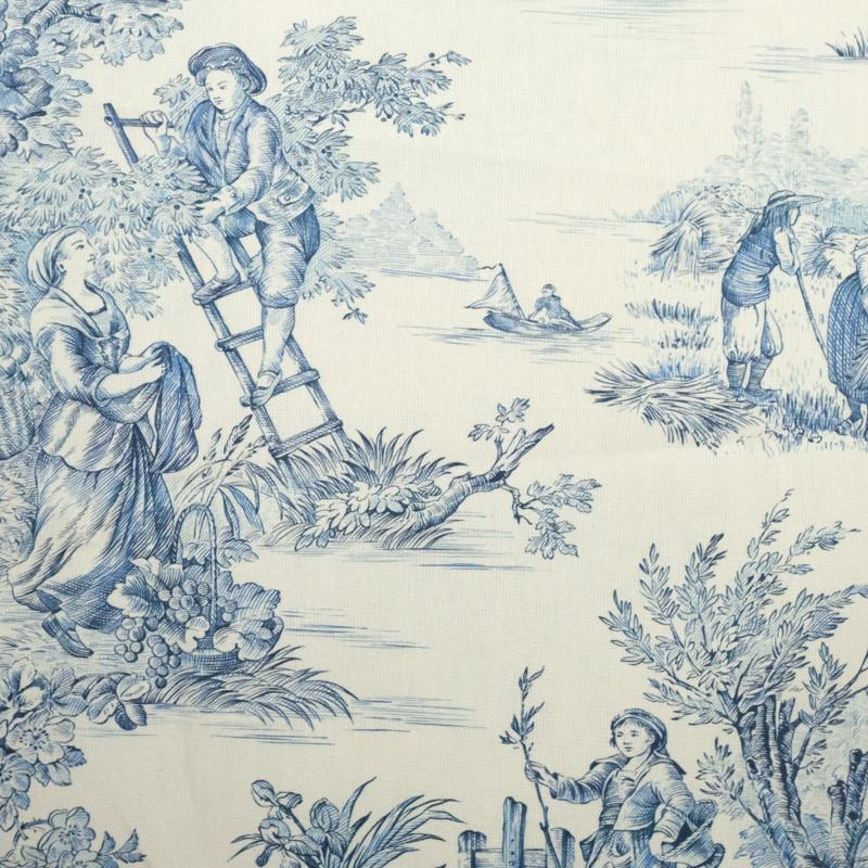 tissu toile de jouy bleu tissus d ameublement mercerine