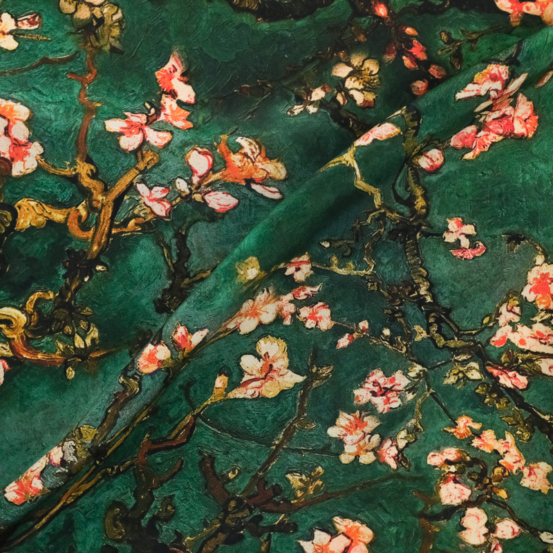soie imprime vert cerisier japonais x10cm