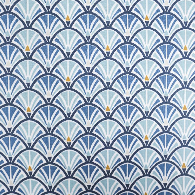 coton eventail jacinthe bleu baltique coton imprime mercerine