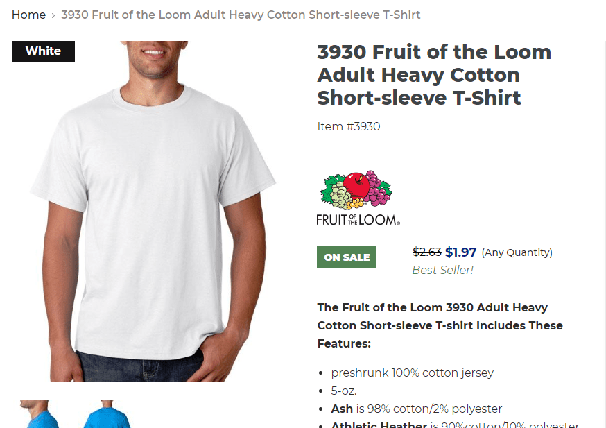 Screen capture of t shirt weight as advertised.