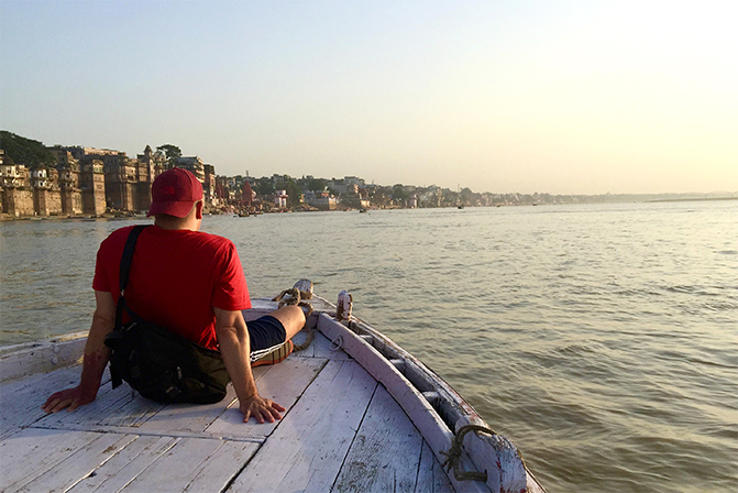 Scott Wright at the Ganga River in India
