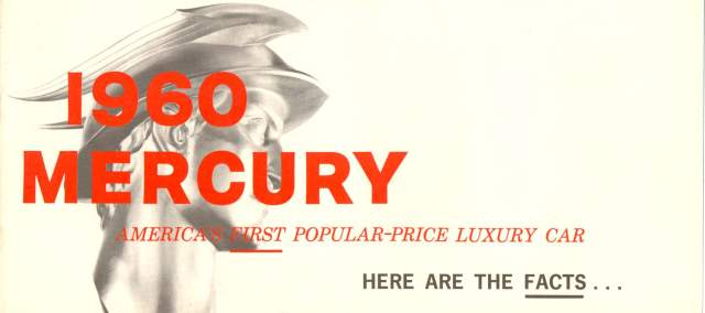 1960 Mercury Fact Booklet Page 1