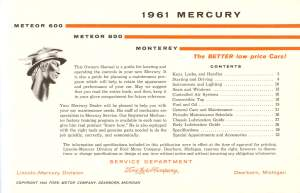 1961 Mercury Owners Manual Pg 2