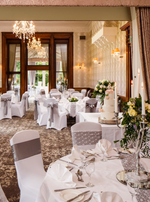 wedding chair covers burton on trent back supports for chairs beautiful staffordshire venue mercure upon the william morris suite at newton park hotel set up