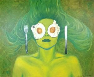 Green Lady and Eggs