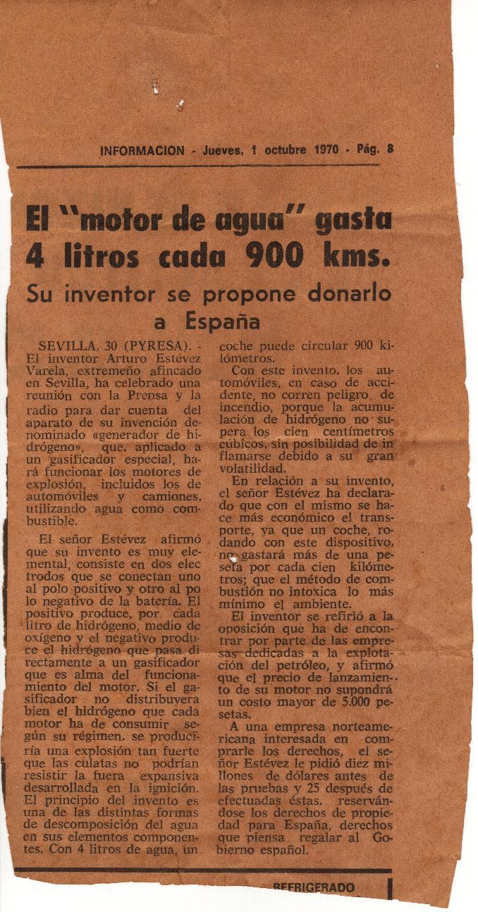 motor de agua de Arturo Estévez Varela