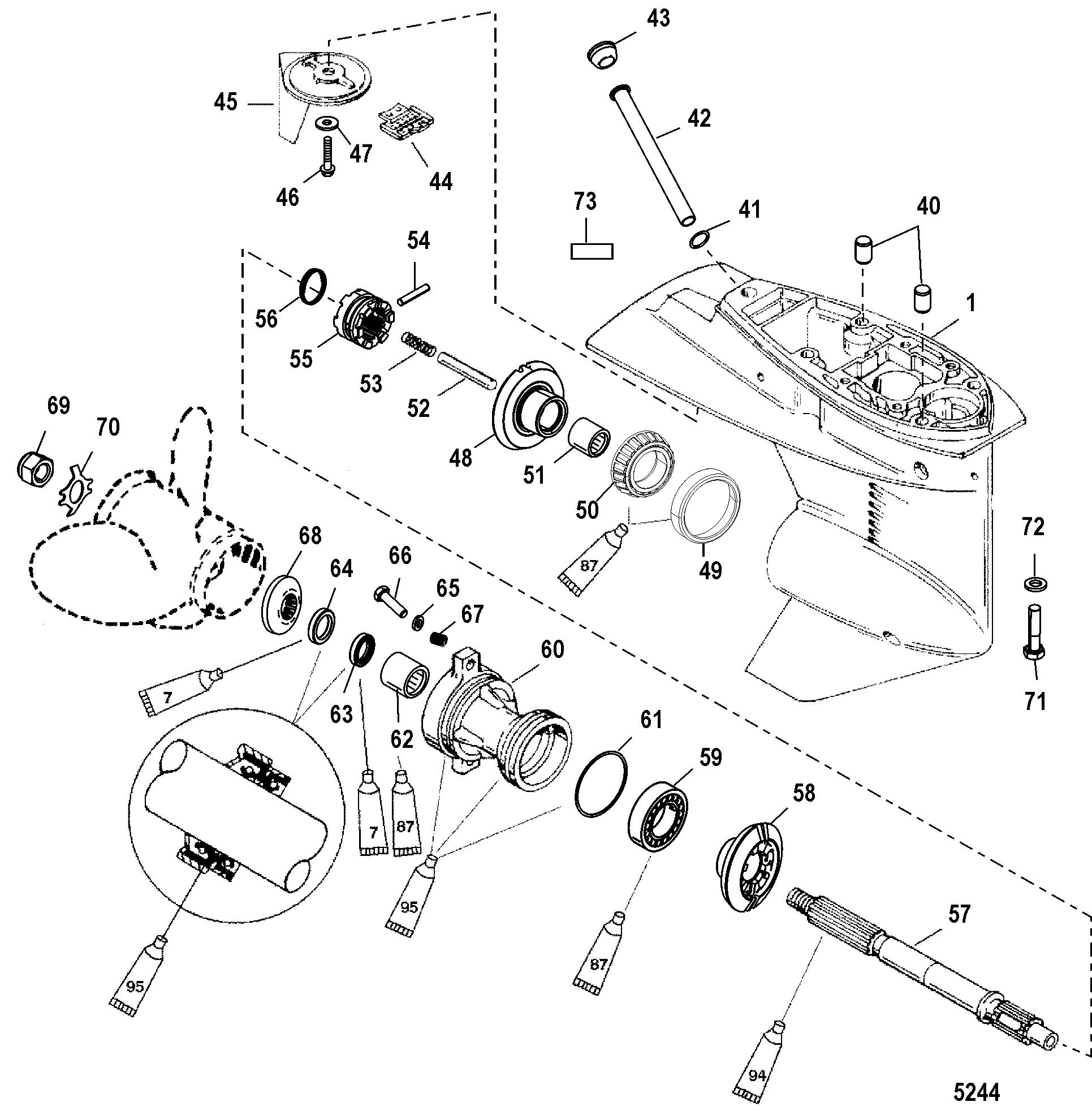 Каталог запчастей MERCURY 2-х тактные 40 (2 CYL.) 0P325500
