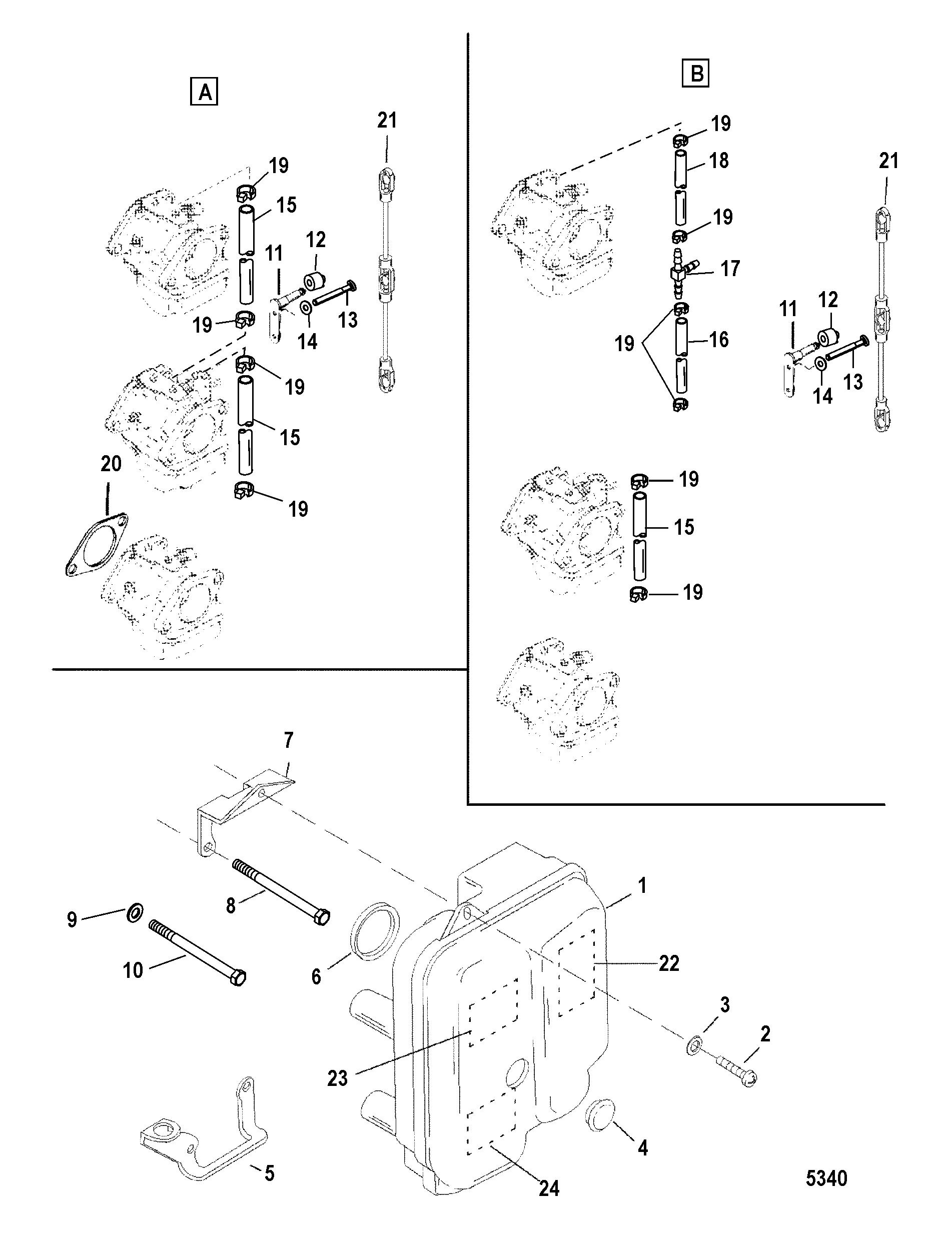 Каталог запчастей MERCURY 2-х тактные 50 (3 CYL.) 0P325500