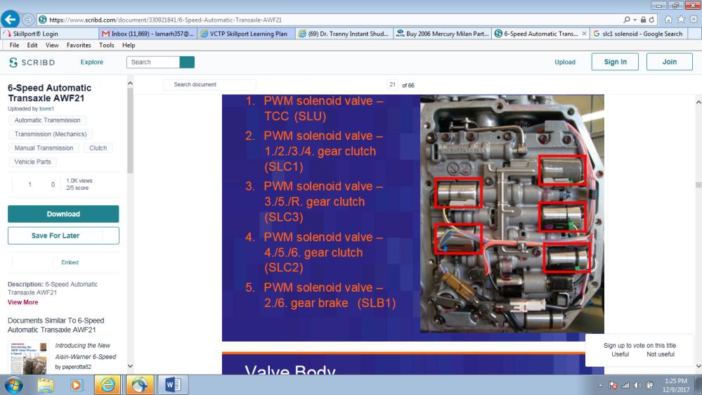 medium resolution of  2006 mercury milan trans shift to limp mode valve body 1 png