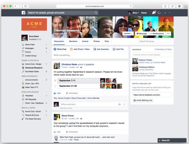 Facebook at Work's homepage for ACME. Photo provided by Facebook.