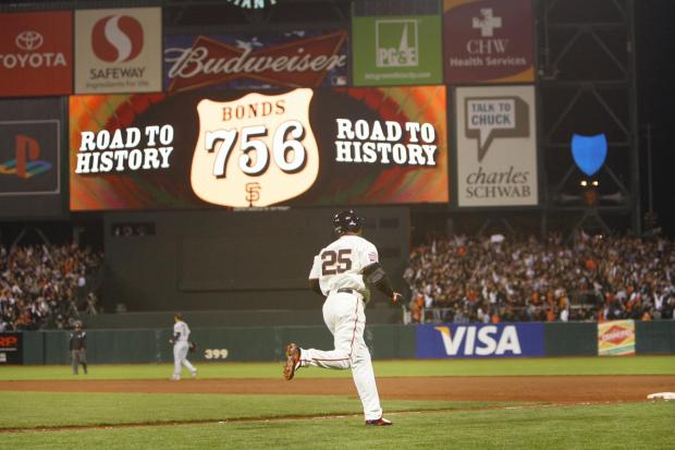 Barry Bonds rounds the bases in the bottom of the fifth inning as the centerfield score board recognizes his 756th career home run. Washington Nationals at San Francisco Giants, Aug. 7, 2007, AT&T Park, San Francisco. (Gary Reyes/Mercury News)
