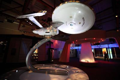 "A replica of the USS Enterprise at the Tech Museum of San Jose, which opened it doors for a special promotion of ""Star Trek The Exhibition,"" Tuesday October 20, 2009. The museum has dedicated 15,000 square feet of space for the exhibit which features original uniforms, spacecraft models, and other items. There is also a transporter, and a flight simulator. The exhibit is scheduled to open Friday October 23. (Photo by Maria J. Avila/Mercury News)"