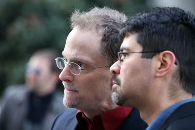 Stuart Gaffney and John Lewis outside a court hearing on marriage equality in 2009. (Maria J. Avila Lopez/Mercury News)